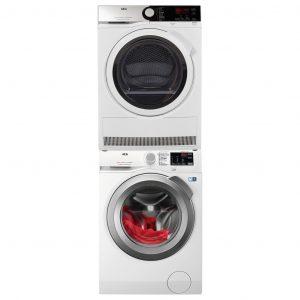 AEG L6FBI86S + AEG T8DE84EW + tussenstuk wasmachine